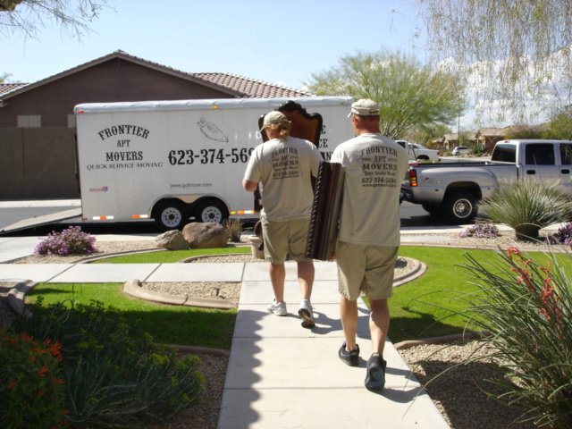 Frontier Movers crew in Tempe moving furniture